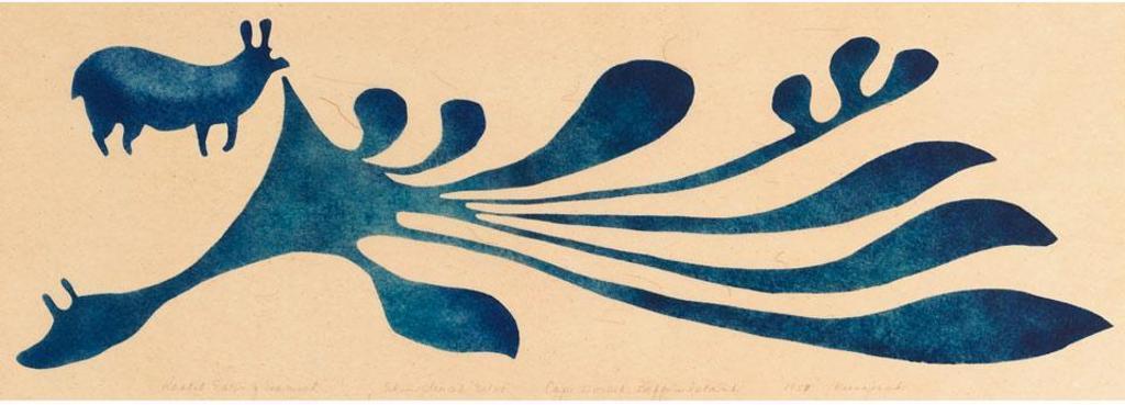 Kenojuak Ashevak (1927-2013) - Conejo comiendo algas
